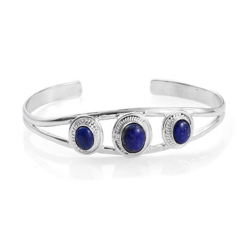 Lapis Lazuli Cuff Bangle (Size 7.5) in Silver Bond 5.360 Ct.