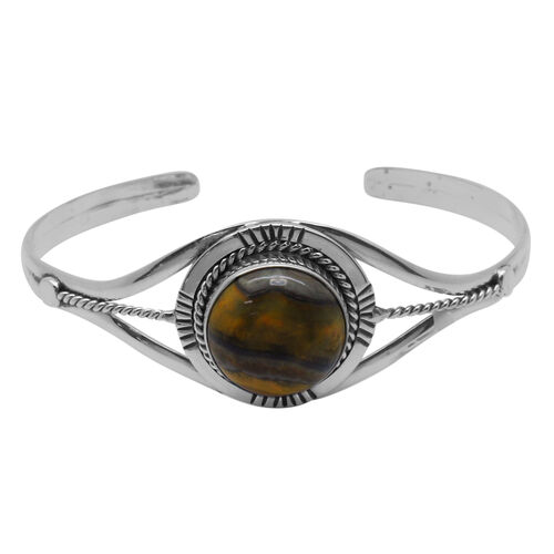 Royal Bali Collection Bumble Bee Jasper (Rnd) Cuff Bangle (Size 7.5) in Sterling Silver 11.210 Ct.
