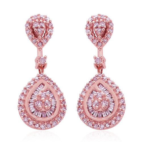 Designer Inspired 9K Rose Gold Natural Pink Diamond (Rnd) Tear Drop Earrings (with Push Back) 0.500 Ct.