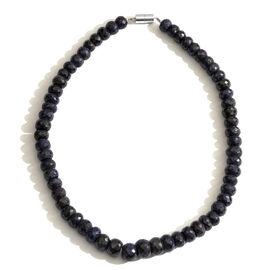 Kanchanaburi Blue Sapphire (Rnd) Beads Necklace (Size 18) with Magnetic Lock in Rhodium Plated Sterling Silver 575.000 Ct.