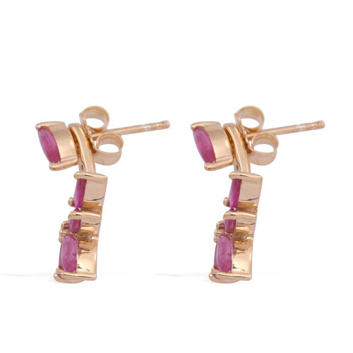 Burmese Ruby (Mrq) Earrings (with Push Back) in 14K Gold Overlay Sterling Silver 2.500 Ct.