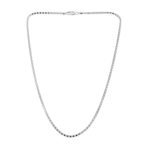 Vicenza Collection Rhodium Plated Sterling Silver Mirror Popcorn Chain (Size 18), Silver wt. 4.50 Gms.