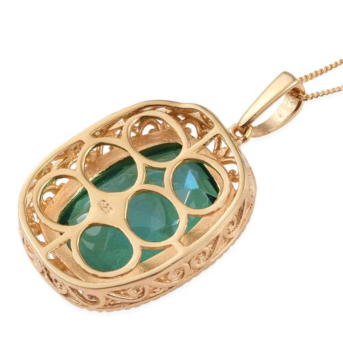 Peacock Quartz (Cush) Pendant with Chain in 14K Gold Overlay Sterling Silver 14.500 Ct.