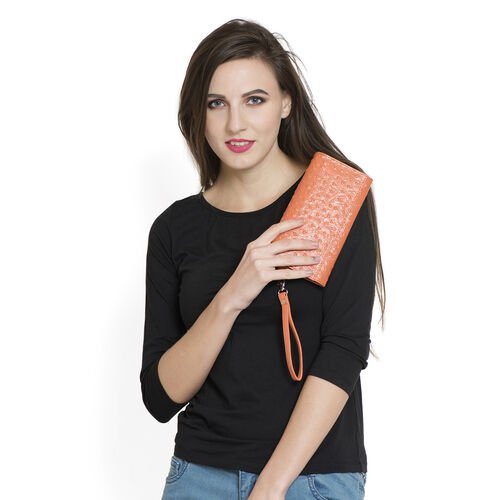 Genuine Leather RFID Blocker Orange Colour Ostrich Pattern Bi-Fold Ladies Wallet (Size 20x11x2 Cm)
