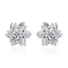 ELANZA AAA Simulated White Diamond (Rnd and Bgt) Stud Earrings (with Push Back) in Rhodium Plated Sterling Silver