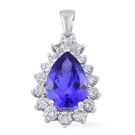 ILIANA 18K W Gold AAA Tanzanite (Pear 3.75 Ct), Diamond (SI/G-H) Pendant 4.510 Ct.