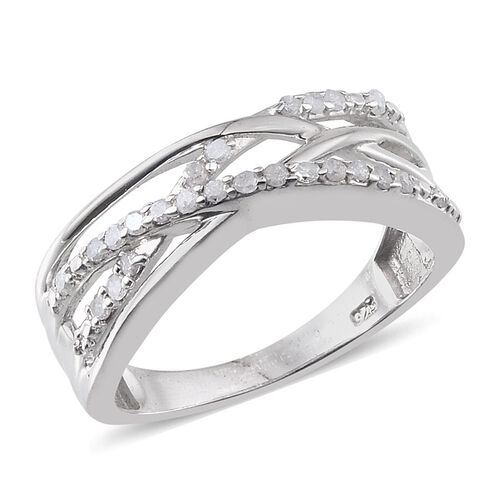 Diamond (Rnd) Criss Cross Ring in Platinum Overlay Sterling Silver 0.250 Ct.