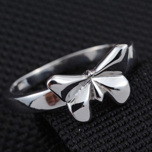 Origami Butterfly Silver Ring in Platinum Overlay, Silver wt 3.50 Gms.