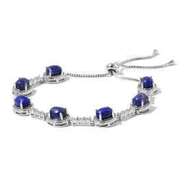 Lapis Lazuli and Simulated Diamond Adjustable Bracelet (Size 6.5 to 10) Silver Plated 25.300 Ct.