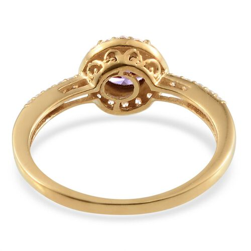 J Francis Yellow Gold Plated Silver 1.17 Carat Made With Amethyst Swarovski Zirconia Halo Ring