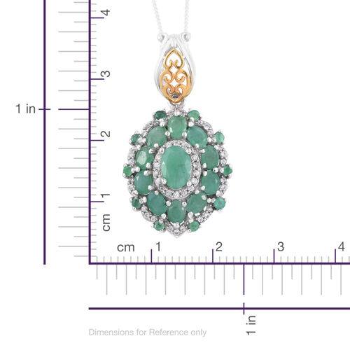 Brazilian Emerald (Ovl 0.75 Ct), Natural Cambodian Zircon Pendant with Chain in Platinum and Yellow Gold Overlay Sterling Silver 3.000 Ct.