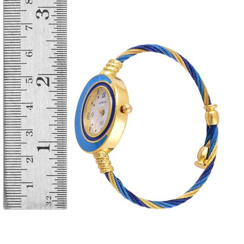 STRADA Japanese Movement White Dial Water Resistant Sky Blue Colour Bangle Watch in Gold Tone with Stainless Steel Back