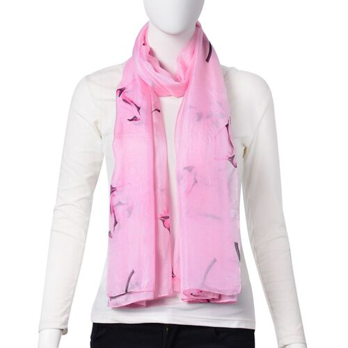 One Time Deal-Designer Inspired 100% Mulberry Silk Pink and Black Colour Calla Lily Printed Scarf (Size 180X110 Cm)