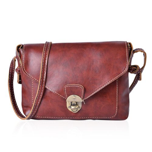 Italian Tan Colour Crossbody Bag with Shoulder Strap (Size 22x18.5x4 Cm)
