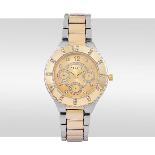 STRADA Japanese Movement White Austrian Crystal Studded Stardust Golden Colour Dial water Resistant Watch in Gold Tone with Stainless Steel Back and Chain Strap