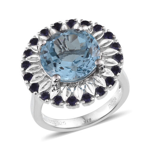 JCK Vegas Collection Sky Blue Topaz (Rnd 5.52 Ct), Iolite Ring in Platinum Overlay Sterling Silver 6.086 Ct.