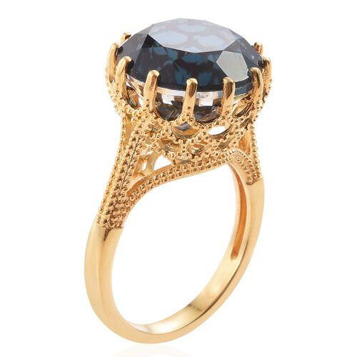 Indicolite Quartz (Rnd) Ring in 14K Gold Overlay Sterling Silver 10.500 Ct.