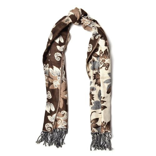 White Colour Floral Pattern Dark and Light Chocolate Colour Scarf with Tassels (Size 180x65 Cm)
