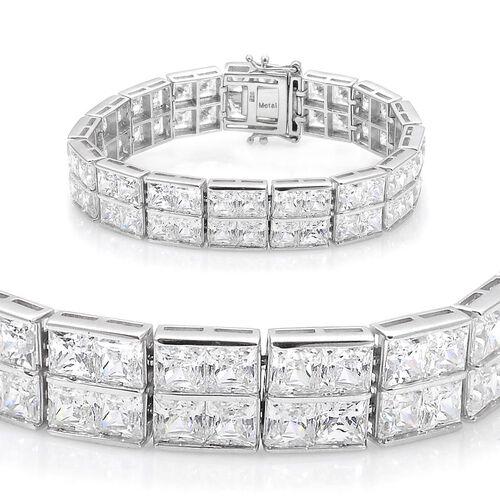 J Francis - Platinum Overlay Sterling Silver (Sqr) Bracelet (Size 7) Made with SWAROVSKI ZIRCONIA
