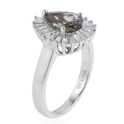 ILIANA 18K White Gold AAA Green Tanzanite (Pear 1.54 Ct), Diamond (SI/G-H) Ring 2.150 Ct.
