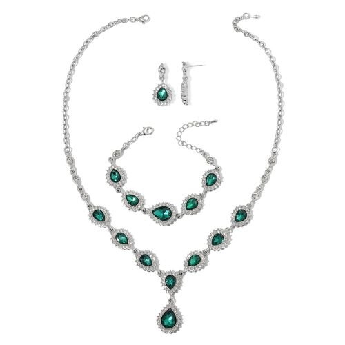 Simulated Emerald and White Austrian Crystal Necklace (Size 18 with 3 inch Extender), Earrings (with Push Back) and Bracelet (Size 7.5 with 3 inch Extender) in Silver Tone
