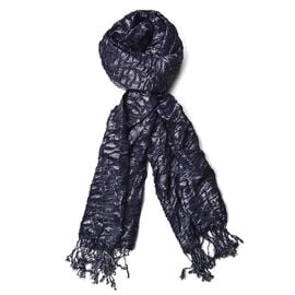 Water Wave Shape Dark Navy Blue Colour Scarf with Tassels (Size 170x65 Cm)