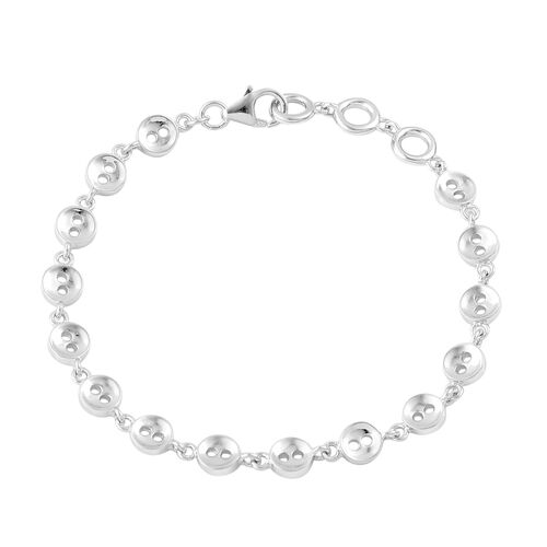 LucyQ Button Bracelet (Size 7.75) in Rhodium Plated Sterling Silver 9.76 Gms.