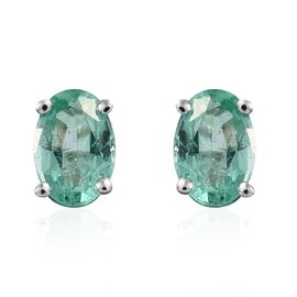 ILIANA 18K White Gold 0.75 Ct AAA Boyaca Colombian Emerald Solitaire Stud Earrings (with Screw Back)
