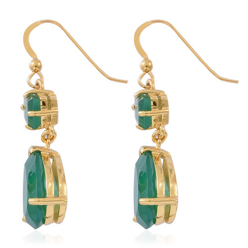 Preview Auction - Verde Onyx (Pear) Drop Hook Earrings in 14K Gold Overlay Sterling Silver 10.000 Ct.