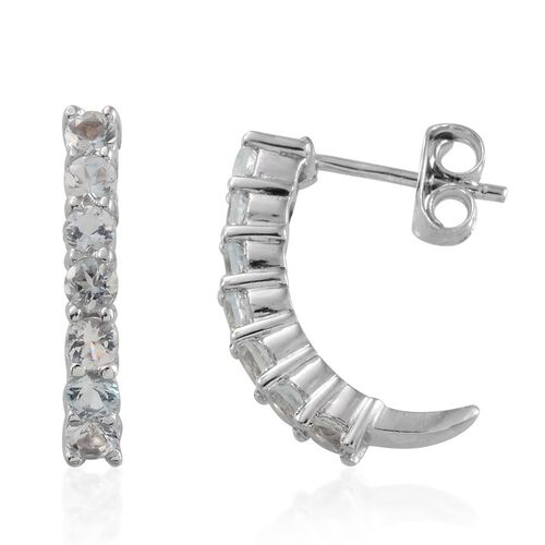 Espirito Santo Aquamarine (Rnd) J Hoop Earrings (with Push Back) in Platinum Overlay Sterling Silver 1.000 Ct.