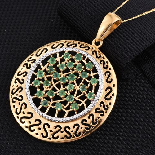 Kagem Zambian Emerald (Rnd) Pendant With Chain in 14K Gold Overlay Sterling Silver 1.750 Ct.