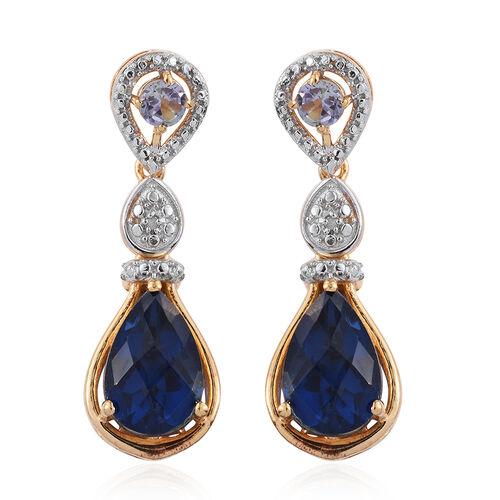 Checkerboard Cut Ceylon Colour Quartz (Pear), Bondi Blue Tanzanite and Diamond Earrings (with Push Back) in 14K Gold Overlay Sterling Silver 7.770 Ct.