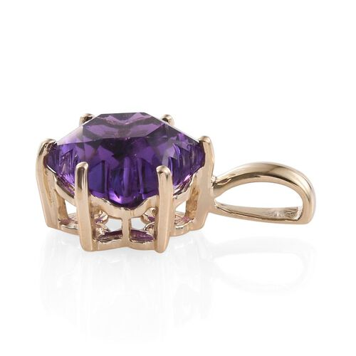 LIMITED EDITION STELLARIS CUT 9K Y Gold AAA Zambian Amethyst Solitaire Pendant 4.000 Ct.