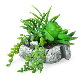 (Option 1) Home Decor - Artificial Cactus Plant in Cement Pot (Size 13X10 Cm)