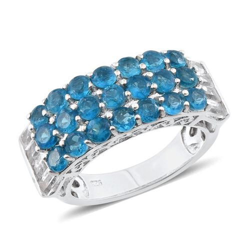 Malgache Neon Apatite (Rnd), White Topaz Ring in Platinum Overlay Sterling Silver 3.750 Ct.