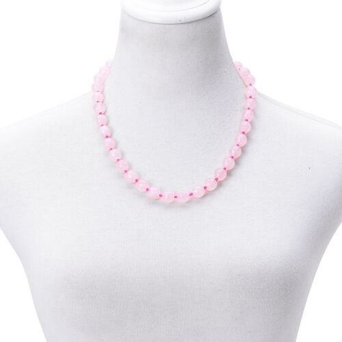 AAA Rare Rose Quartz Beaded Necklace (Size 20) in Silver Tone 365.000 Ct
