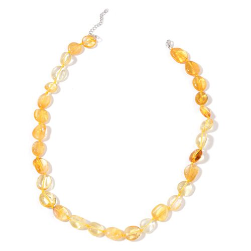 Hand Knotted Citrine Necklace (Size 18 with 2 inch Extender) in Rhodium Plated Sterling Silver 190.000 Ct.
