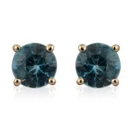 AA Blue Zircon Stud Earrings (with Push Back) in 9K Gold 1 Carat