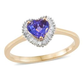 9K Y Gold Tanzanite (Hrt 1.10 Ct), Diamond Ring 1.250 Ct.