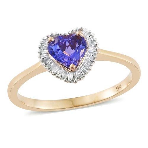 9K Yellow Gold 1.50 Ct AA Tanzanite Heart Ring with Diamond