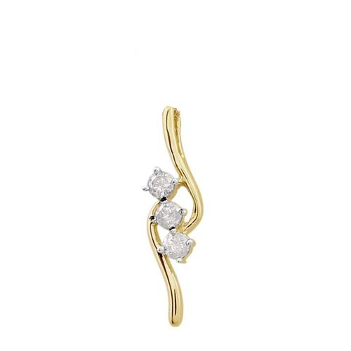 9K Yellow Gold 0.33 Ct Diamond 3 Stone Pendant SGL Certified (I3/G-H)
