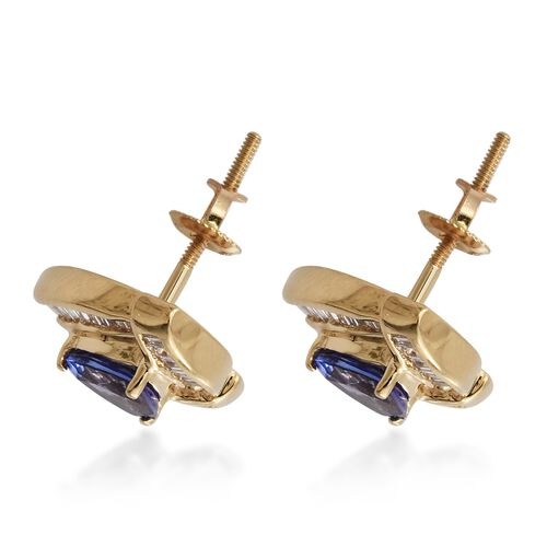 Limited Edition - ILIANA 18K Yellow Gold AAA Tanzanite (Trl), Diamond Stud Earrings 2.000 Ct., Gold wt 4.00 Gms.