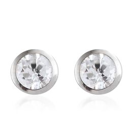 9K White Gold 1.50 Ct Natural Cambodian Zircon Solitaire Stud Earrings (with Push Back)