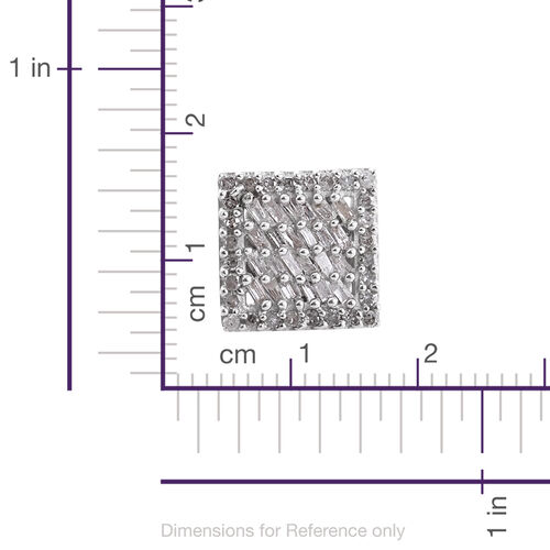 Diamond (Bgt) Square Stud Earrings (with Push Back) in Platinum Overlay Sterling Silver 0.500 Ct. Number of Diamonds 104