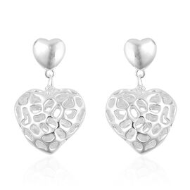 RACHEL GALLEY Sterling Silver Lattice Amore Heart Earrings (with Push Back) [ Silver Wt 6.59 gms]