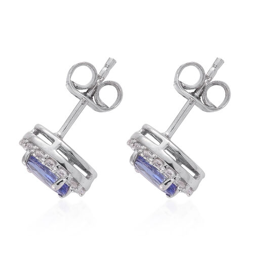 9K White Gold 1.25 Carat AA Tanzanite, Cambodian Zircon Stud Earrings with Push Back