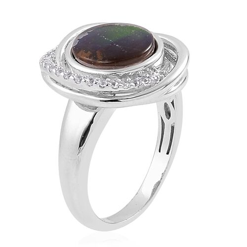Canadian Ammolite (Rnd 2.50 Ct), White Zircon Ring in Platinum Overlay Sterling Silver 2.700 Ct.