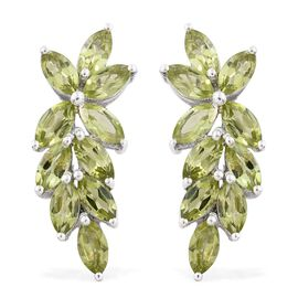 Designer Inspired-Hebei Peridot (Mrq) Earrings (with Push Back) in Platinum Overlay Sterling Silver 5.250 Ct.