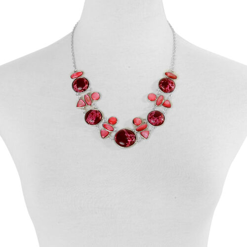 Red Jasper and Dyed Puka Shell Necklace (Size 22) in Silver Tone