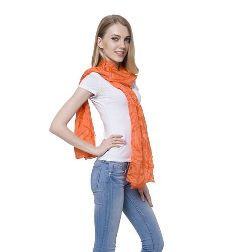 100% Mulberry Silk Pantone Flame Orange Colour Scarf (Size 180x110 Cm)
